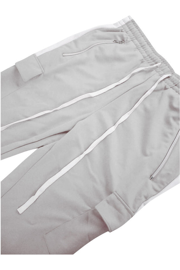 Side Stripe Cargo Track Pants Grey - White (ZCM4593PS)