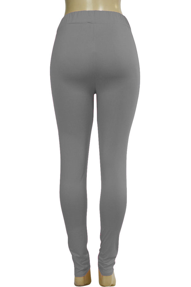 Side Stripe Leggings Grey - White (MADISON-84)