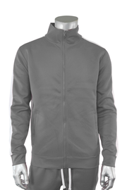 Solid One Stripe Track Jacket Grey - White (100-501) - Zamage