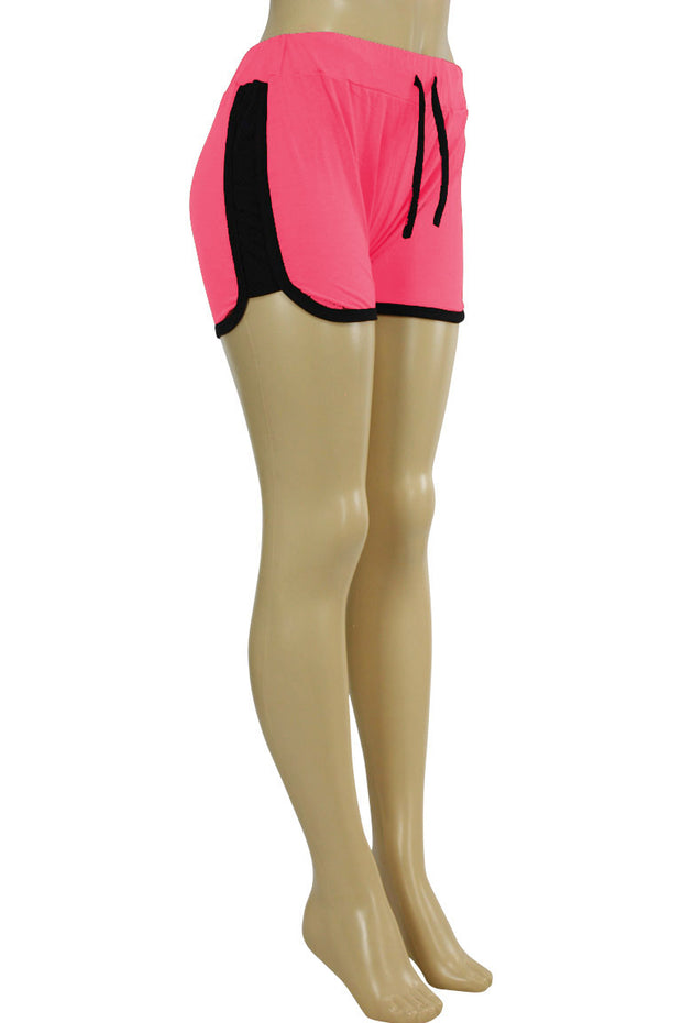 Women's Side Stripe Hot Shorts Pink - Black (ASHLEY-81)