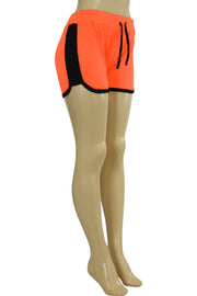 Women's Side Stripe Hot Shorts Orange - Black (ASHLEY-81)