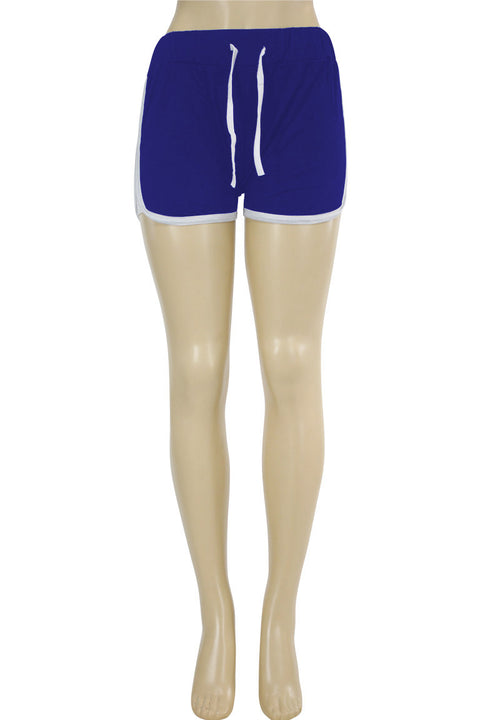 Women's Side Stripe Hot Shorts Royal Blue - White (ASHLEY-81)