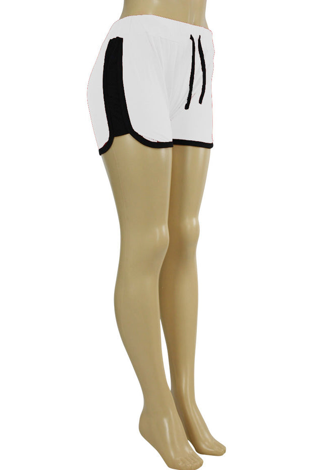 Women's Side Stripe Hot Shorts White - Black (ASHLEY-81)