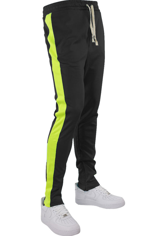 Side Stripe Track Pants Black - Lime (HF9602)