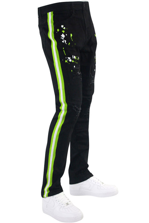 Distressed Triple Side Stripe Paint Splatter Denim Black Wash - Neon Green - White (HZW4228) - Zamage