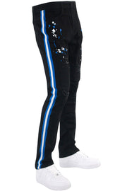 Distressed Triple Side Stripe Paint Splatter Denim Black Wash - Royal - White (HZW4228) - Zamage