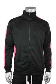 Striped Tricot Track Jacket Black - Pink (82-311)