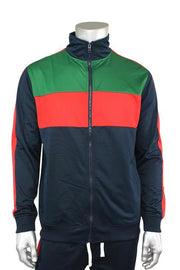 Striped Color Block Track Jacket Navy - Red - Green (82-312 22S)