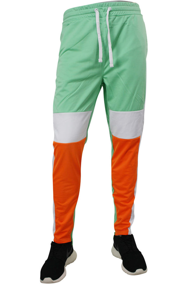 Striped Color Block Track Pants Mint - Orange - White (82-412)