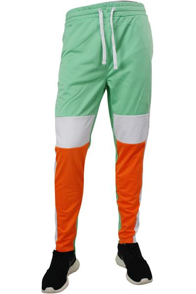 Striped Color Block Track Pants Mint - Orange - White (82-412 22S)