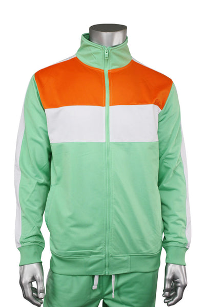 Striped Color Block Track Jacket Mint - Orange - White (82-312)