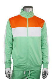 Striped Color Block Track Jacket Mint - Orange - White (82-312 22S)
