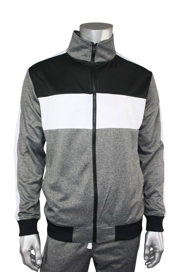 Striped Color Block Track Jacket Marled Black (82-312)