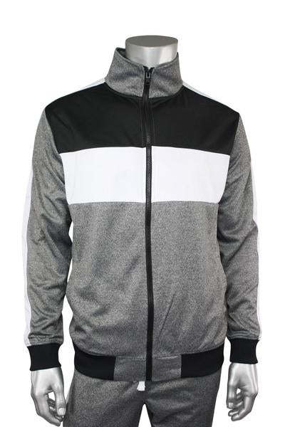 Color Block Track Jacket Marled Black (1915) - Zamage