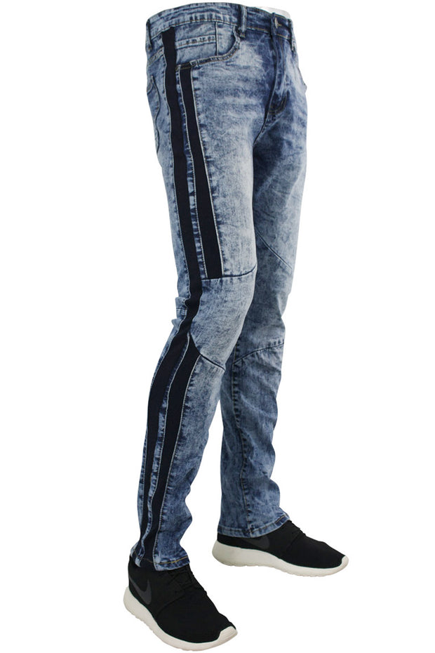 Moto Skinny Fit Denim Track Pants Blue Sky Wash (M4510DA) - Zamage