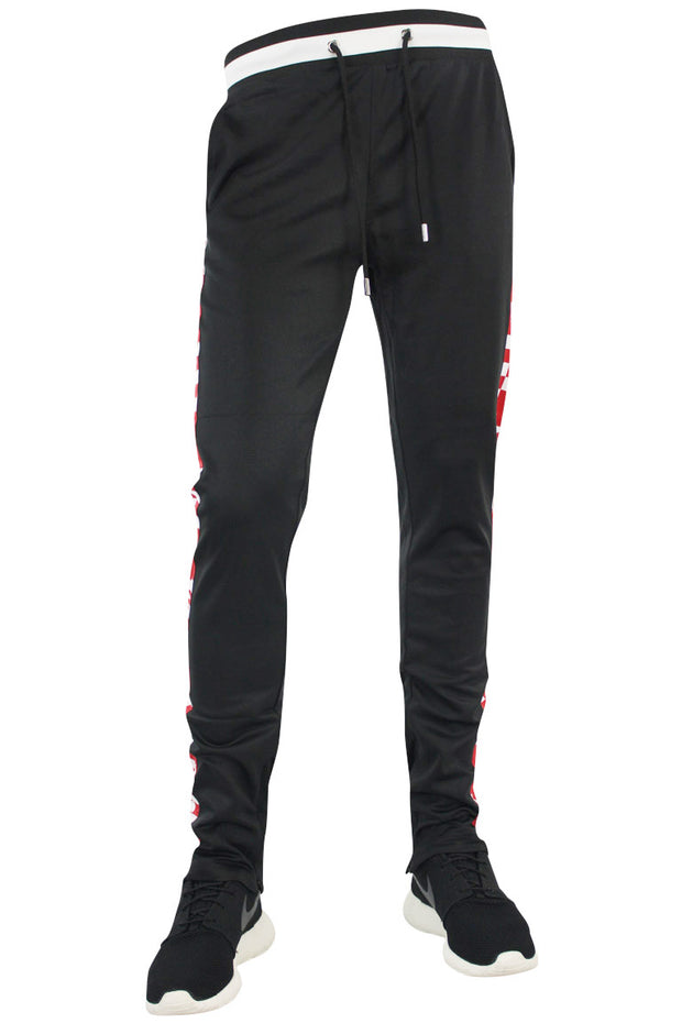 Checkered Star Stripe Track Pants Black - Red (FP810) - Zamage