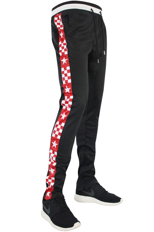Checkered Star Stripe Track Pants Black - Red (FP810)