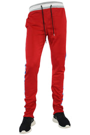 Checkered Star Stripe Track Pants Red - Blue (FP810) - Zamage