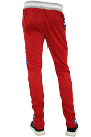 Checkered Star Stripe Track Pants Red - Blue (FP810)