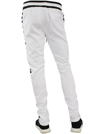 Checkered Star Stripe Track Pants White - Black (FP810) - Zamage
