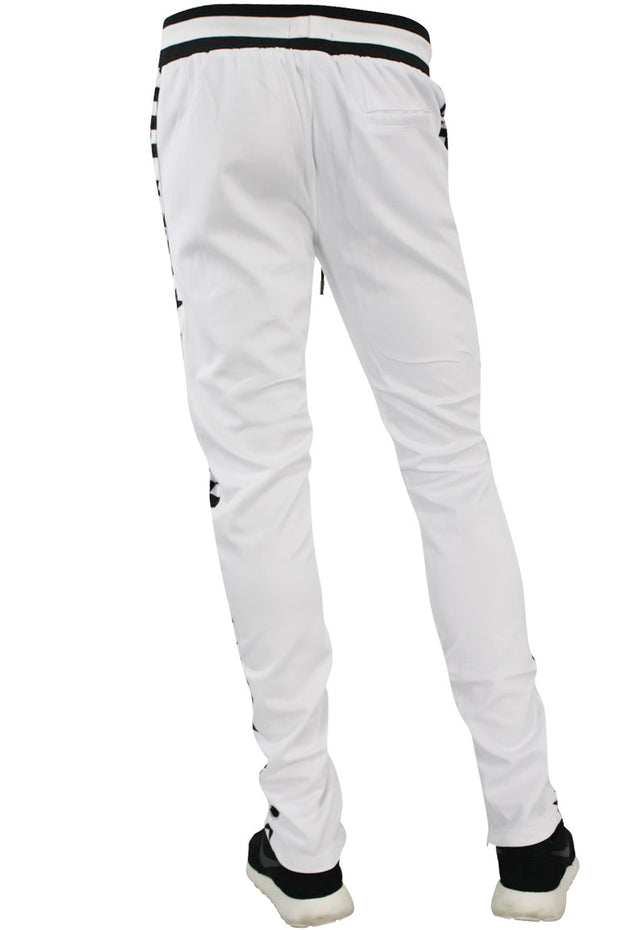 Checkered Star Stripe Track Pants White - Black (FP810)
