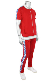 Checkered Star Stripe Track Shirt Red - Blue (JK810) - Zamage