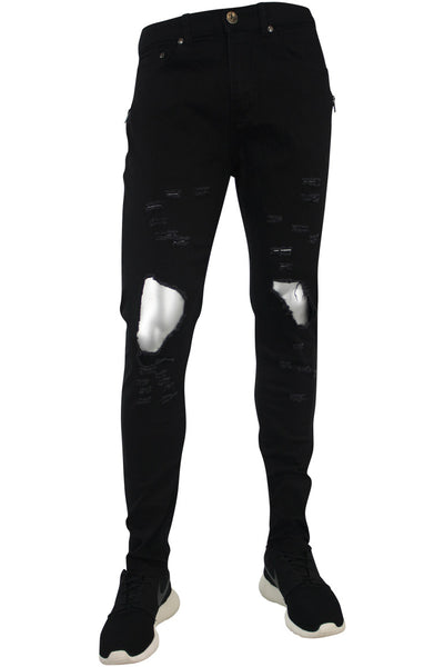 Destroyed Zipper Slim Fit Denim Black (4343)