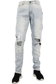 Destroyed Zipper Slim Fit Denim Light Blue (M4343D)