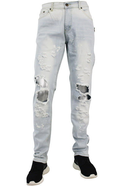 Destroyed Zipper Slim Fit Denim Light Blue (M4343D) - Zamage