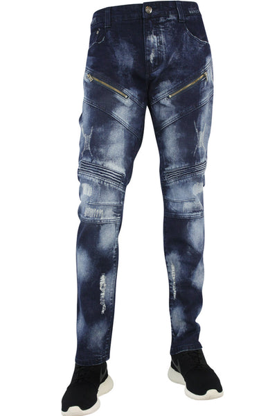 Distressed Slant Zip Skinny Fit Denim Indigo (M4333D)