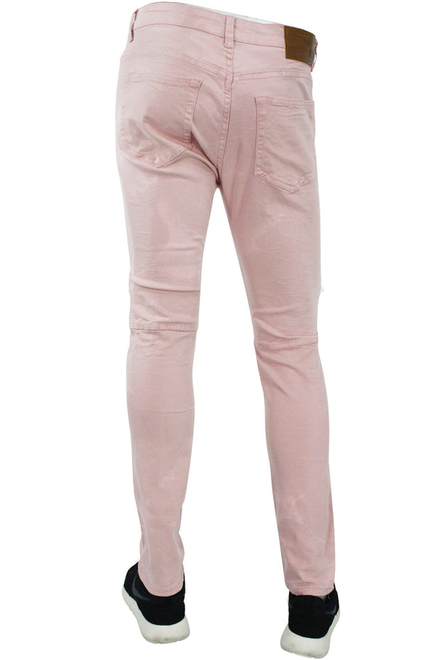 Double Zip Moto Skinny Fit Denim Blush (4421) - Zamage