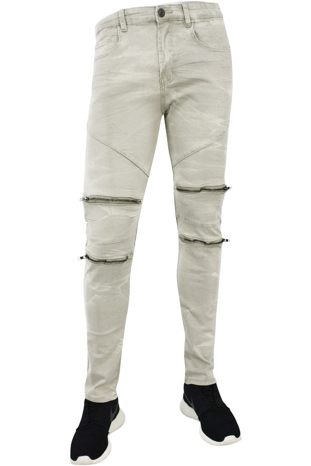 Double Zip Moto Skinny Fit Denim Sage (4421) - Zamage
