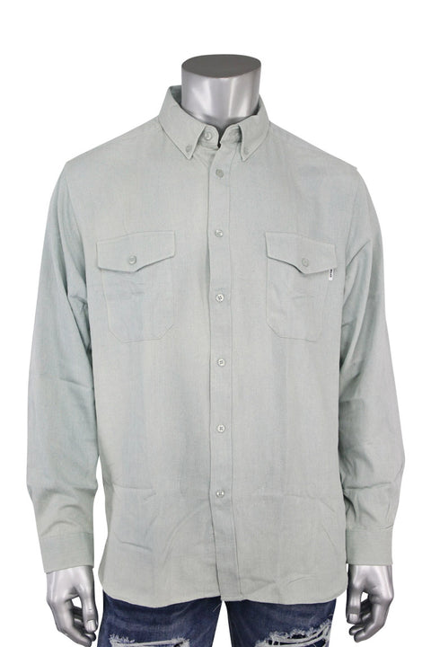 EPTM L/S Denim Side Zip Shirt Vintage Aqua (EP7628 22S) - Zamage