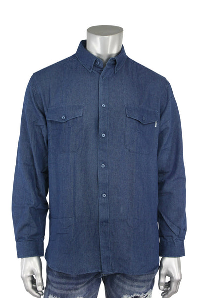 EPTM L/S Denim Side Zip Shirt Vintage Blue (EP7628 22S) - Zamage