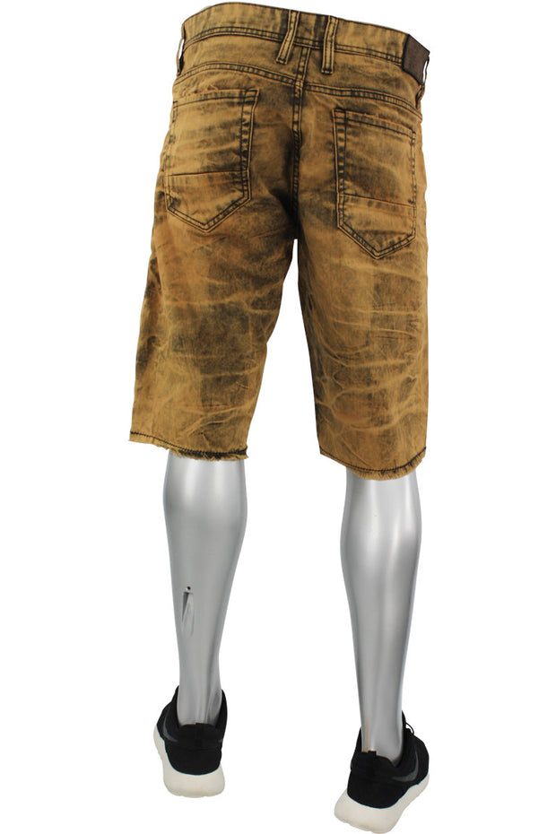 Jordan Craig Bleached Dyed Shredded Denim Shorts Wheat (J2127S 22S)