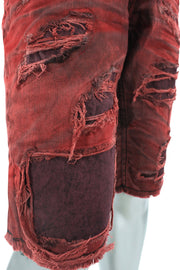 Jordan Craig Bleached Dyed Shredded Denim Shorts Wine (J2127S 22S)