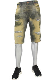 Destroyed Paint Wash Denim Shorts Rebel Army (J3049AS 22S)