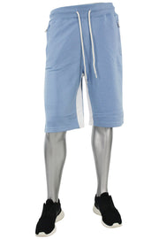 Jordan Craig Color Block Fleece Track Shorts Baby Blue - White (8291S) - Zamage