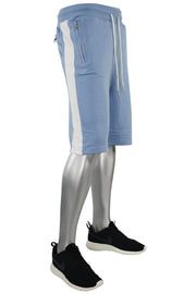 Jordan Craig Color Block Fleece Track Shorts Baby Blue - White (8291S)