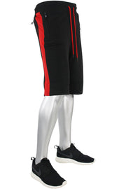 Jordan Craig Color Block Fleece Track Shorts Black - Red (8291S)