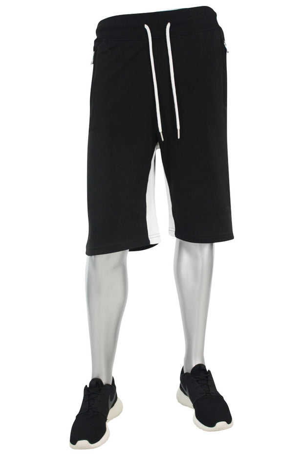 Jordan Craig Color Block Fleece Track Shorts Black - White (8291S)
