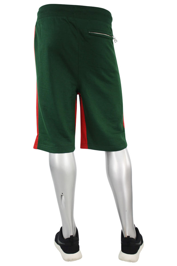 Color Block Fleece Track Shorts Green - Red (8291S)