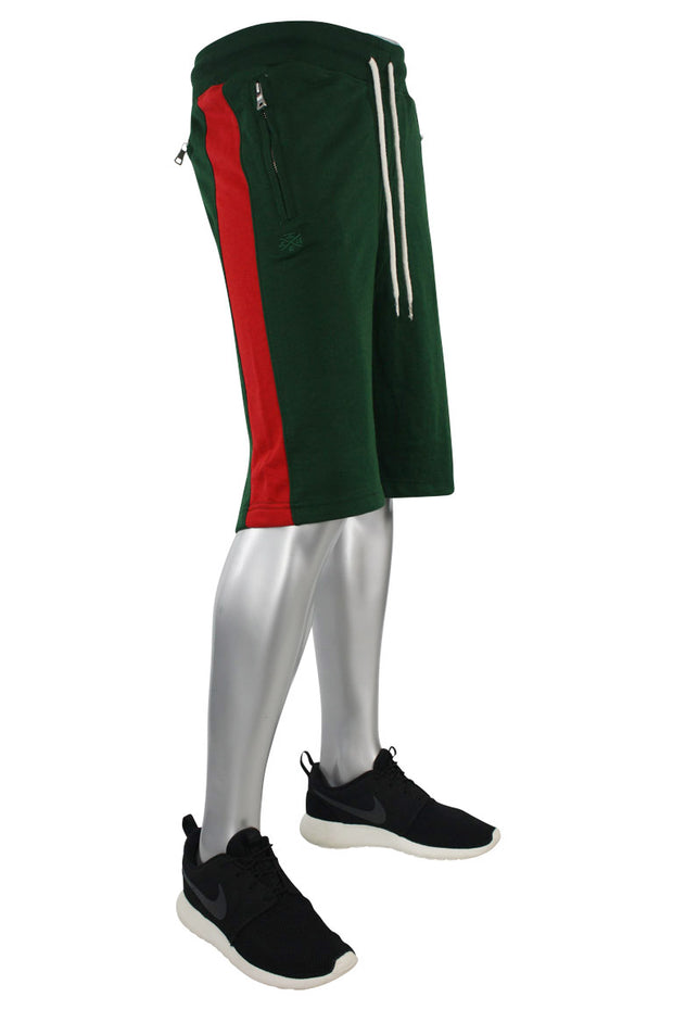 Jordan Craig Color Block Fleece Track Shorts Green - Red (8291S) - Zamage