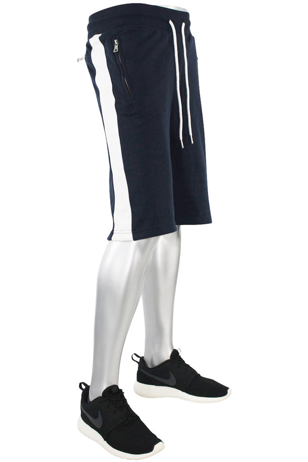 Jordan Craig Color Block Fleece Track Shorts Navy - White (8291S)