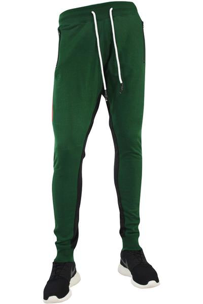 Jordan Craig Color Block French Terry Track Pants Green - Red - White (8298 22S) - Zamage