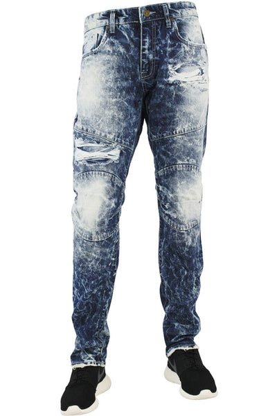 Jordan Craig Faded Aaron Slim Fit Denim Destroyed Blue (JM3055 22S) - Zamage