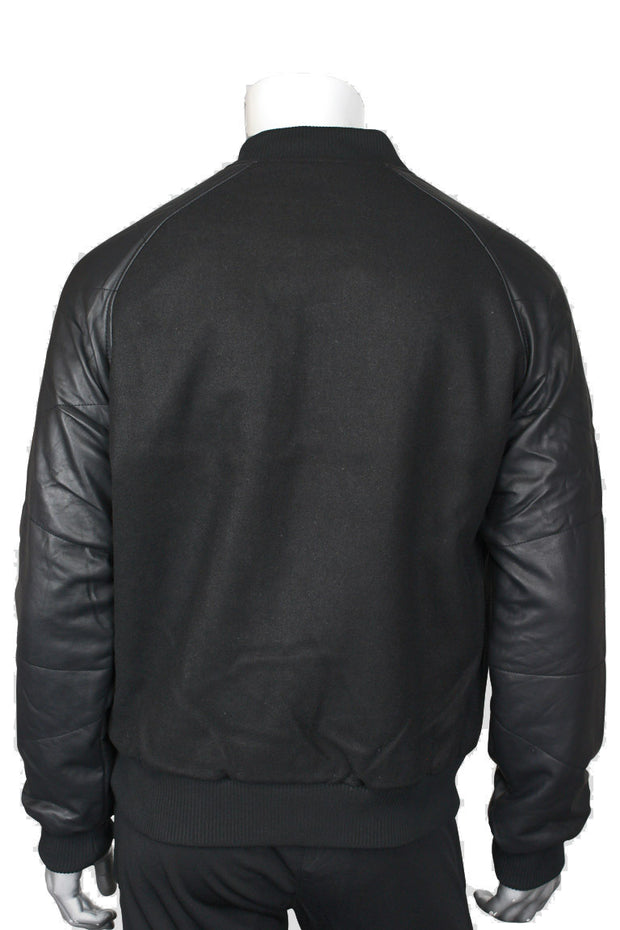 Jordan Craig PU Leather Sleeves Baseball Jacket Black (91231)