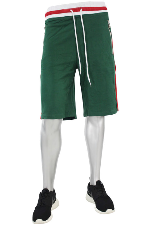 Jordan Craig Striped Track Shorts Green (8295S) - Zamage