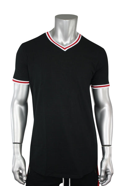 Jordan Craig Striped V-Neck Tee Black (8961V)