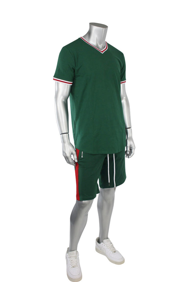 Jordan Craig Striped V-Neck Tee Green (8961V)